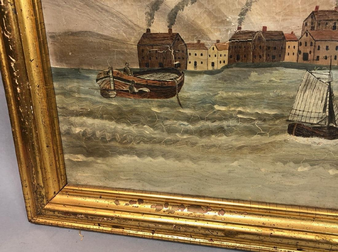 Antique American School Harbor Scene Oil Painting - 5