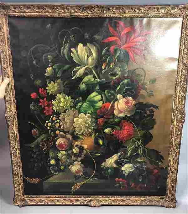 Large Still Life Oil Painting on Canvas. Illegib