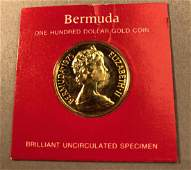 1975 Bermuda One Hundred Dollar Gold Coin  Brill