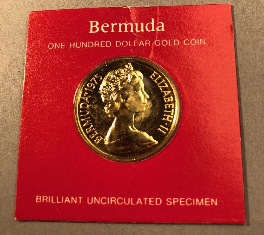 1975 Bermuda One Hundred Dollar Gold Coin.  Brill