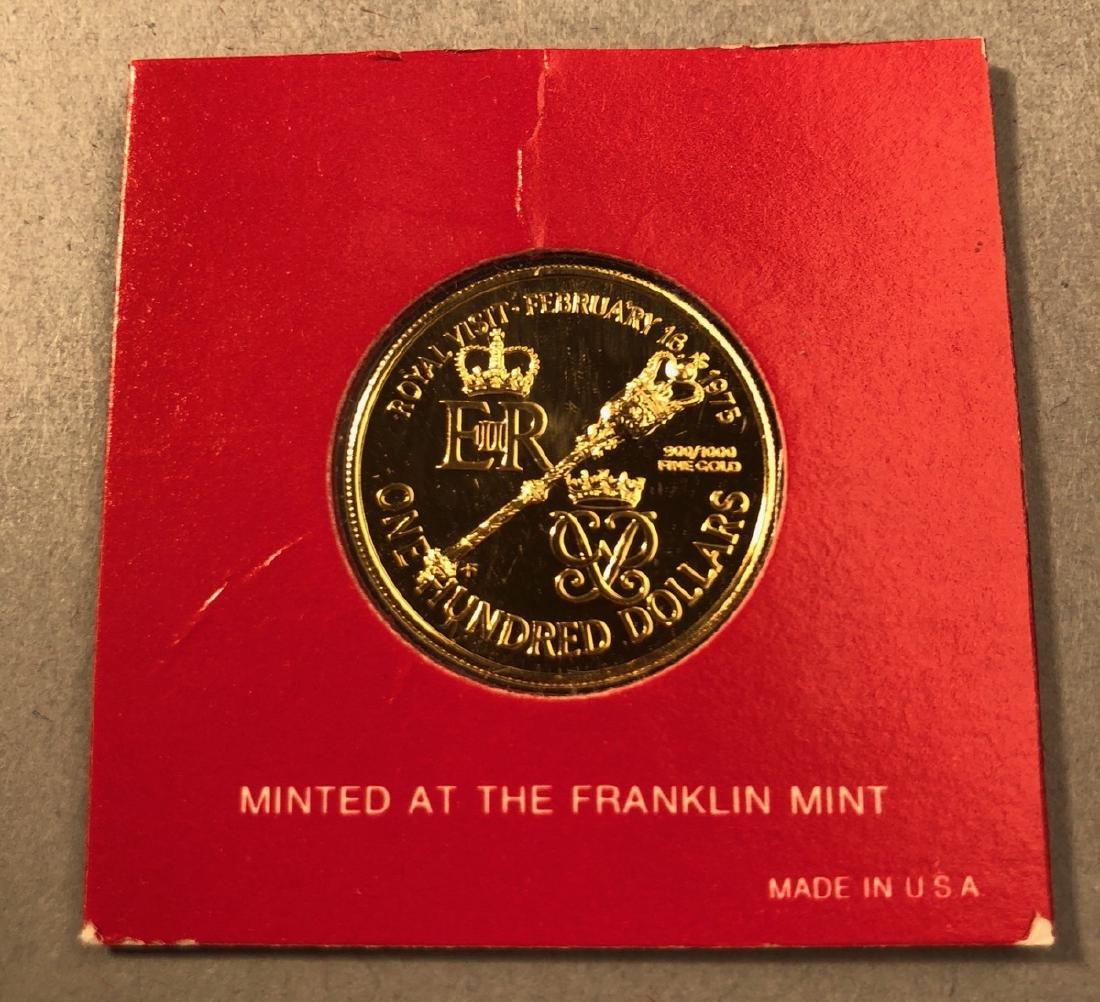 1975 Bermuda One Hundred Dollar Gold Coin.  Brill - 2