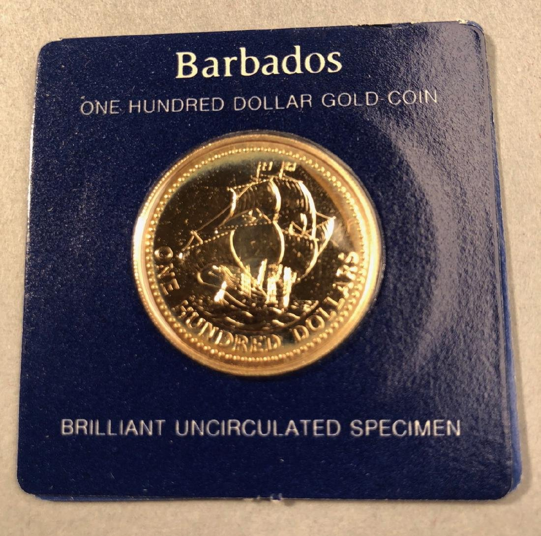 1975 Barbados One Hundred Dollar Gold Coin.  Bril