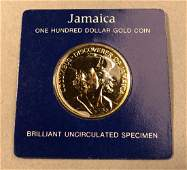 1975 Jamaica One Hundred Dollar Gold Coin  Brill