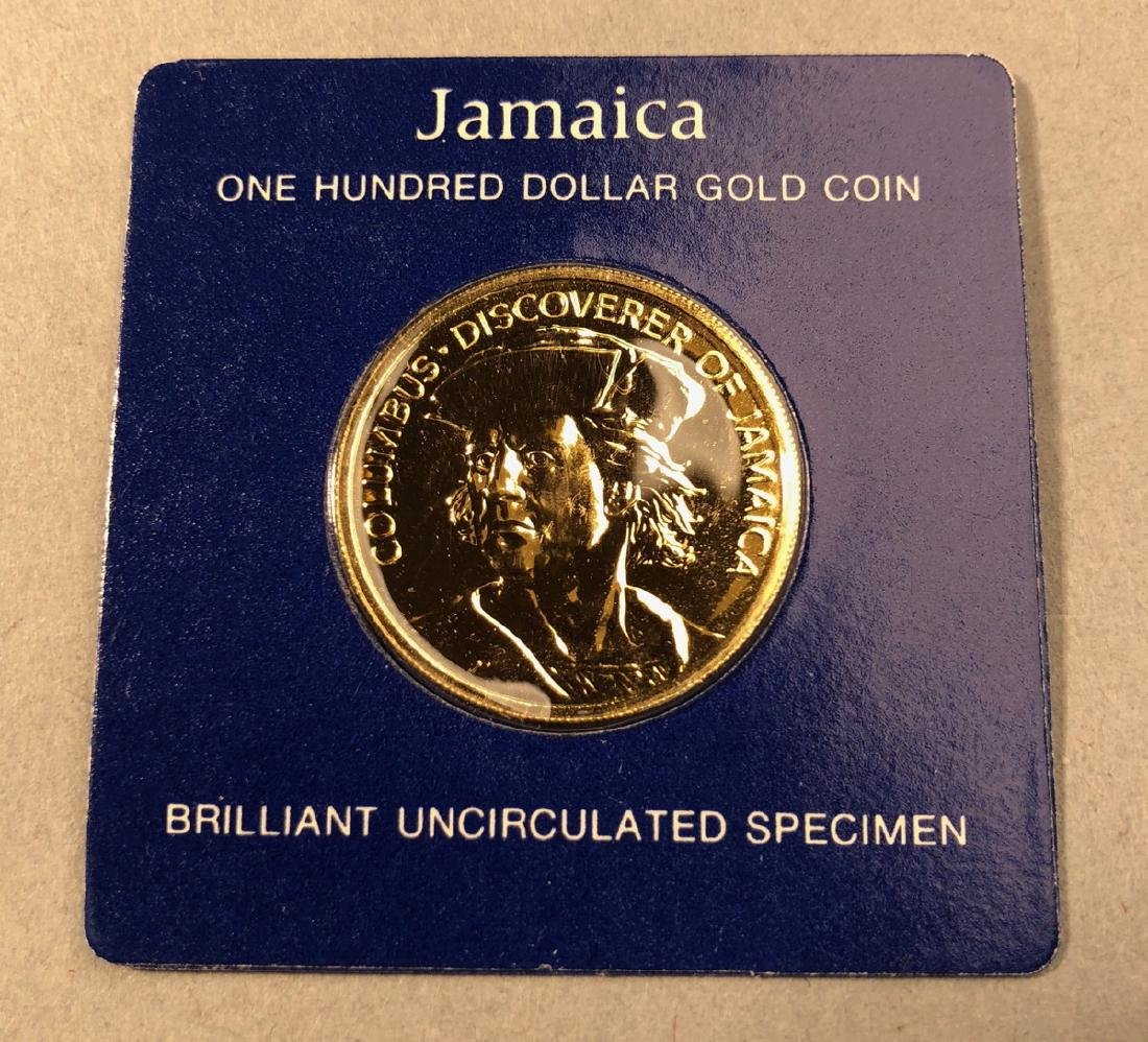 1975 Jamaica One Hundred Dollar Gold Coin.  Brill