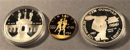 1983  1984 3Coin Commem Olympic Proof Set  Ori