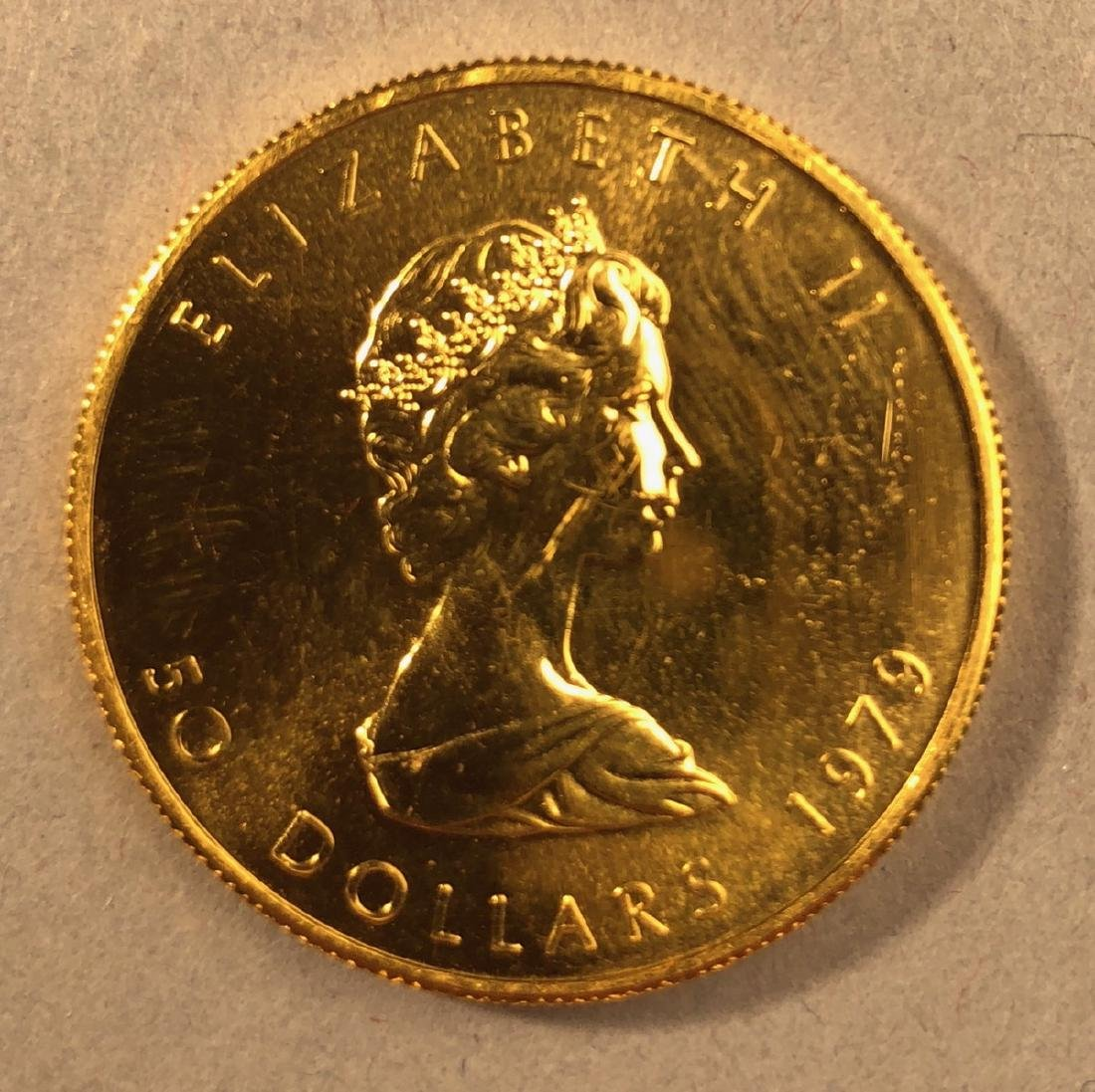 1979 Fifty Dollar Elizabeth II Canada Gold Coin.