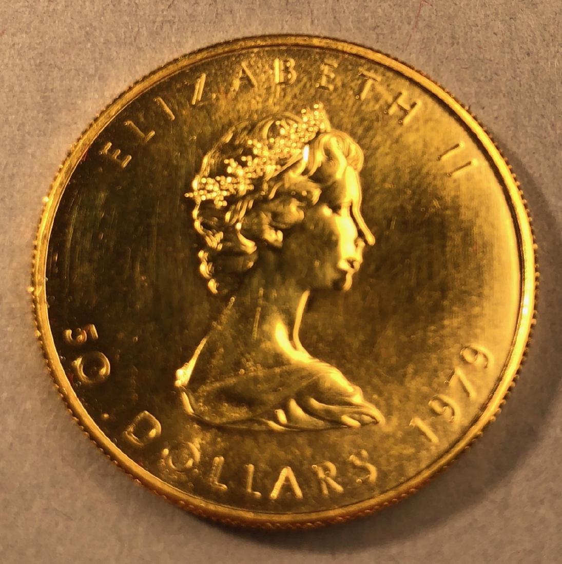 1979 Fifty Dollar Elizabeth II Canada Gold Coin.
