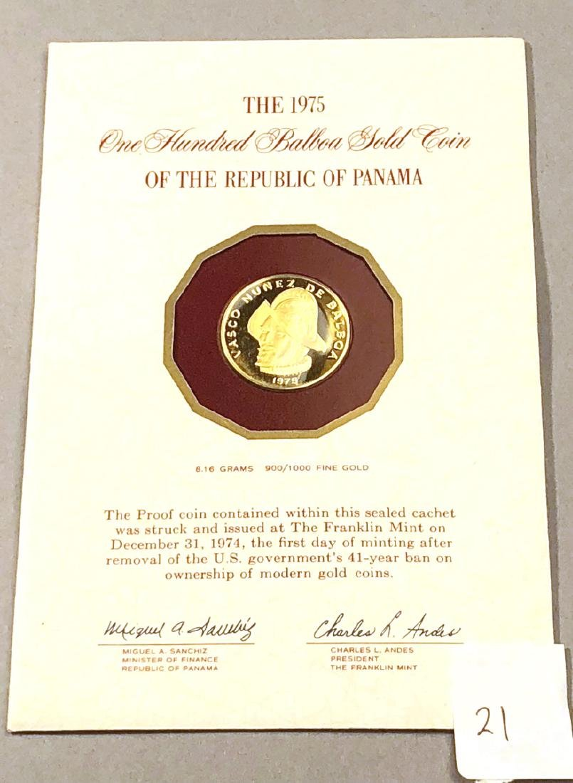1975 Republic of Panama One Hundred Balboas Gold