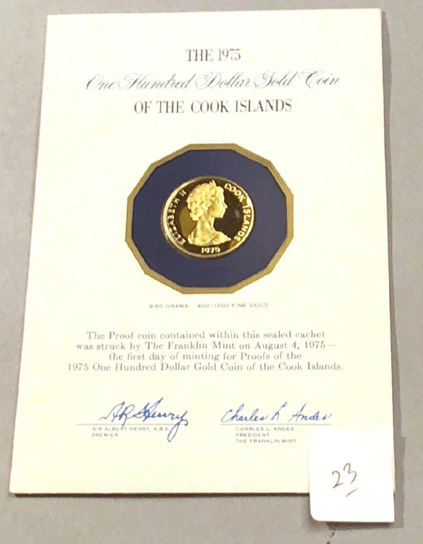1975 Cook Islands One Hundred Dollar Gold Coin. S