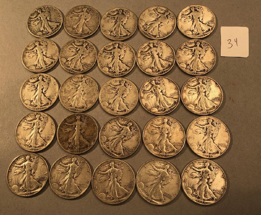 25 Silver Walking Liberty Half Dollars Coins.  $1