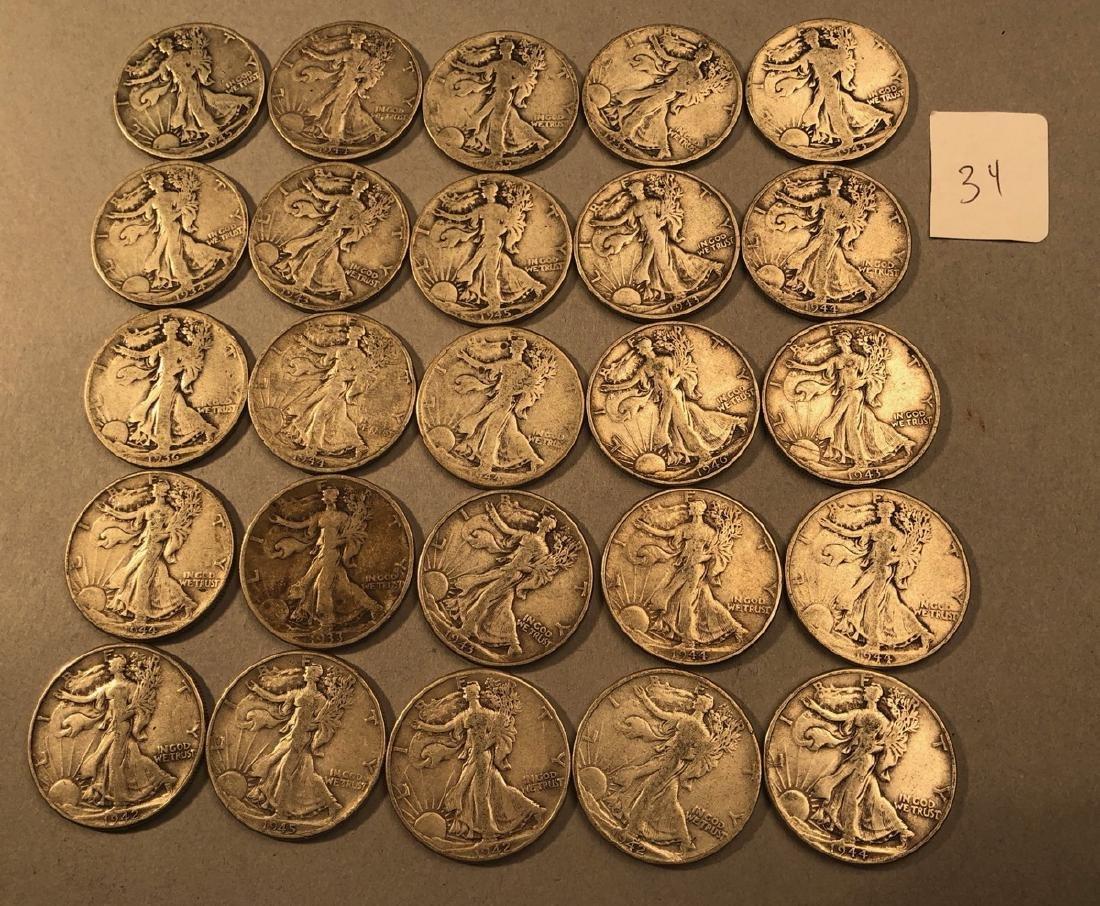25 Silver Walking Liberty Half Dollars Coins.  $1