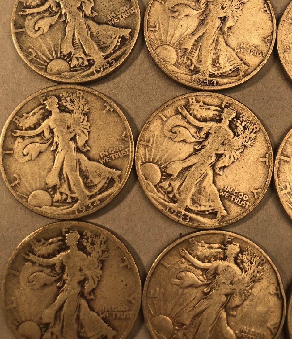 25 Silver Walking Liberty Half Dollars Coins.  $1 - 2