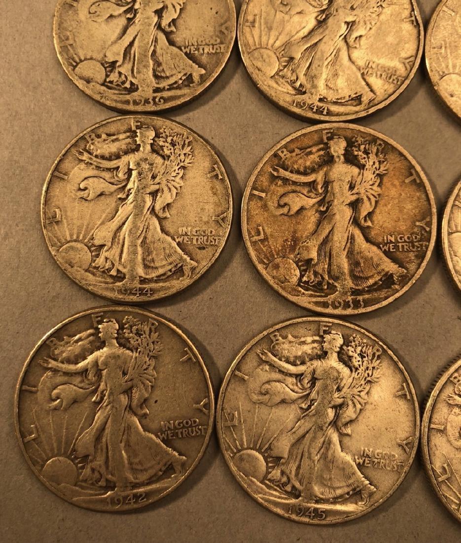 25 Silver Walking Liberty Half Dollars Coins.  $1 - 3