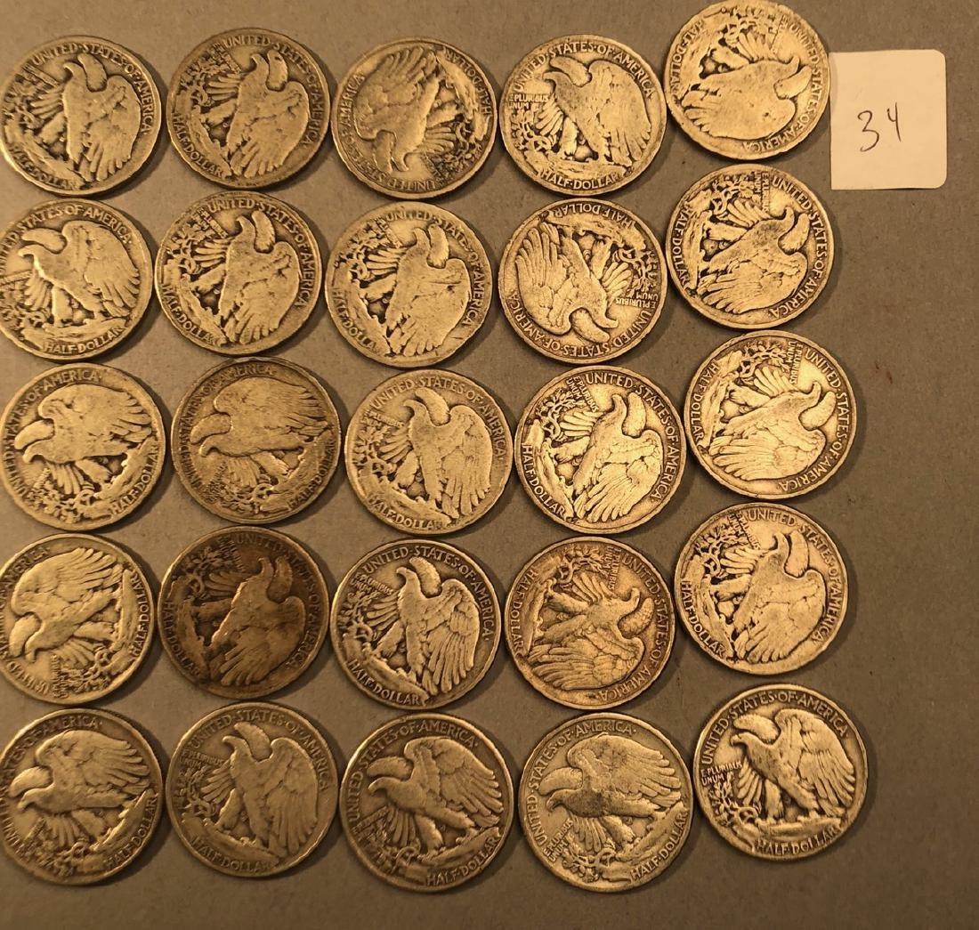 25 Silver Walking Liberty Half Dollars Coins.  $1 - 6