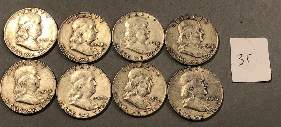 8 Silver Franklin Half Dollars Coins. $4 face.