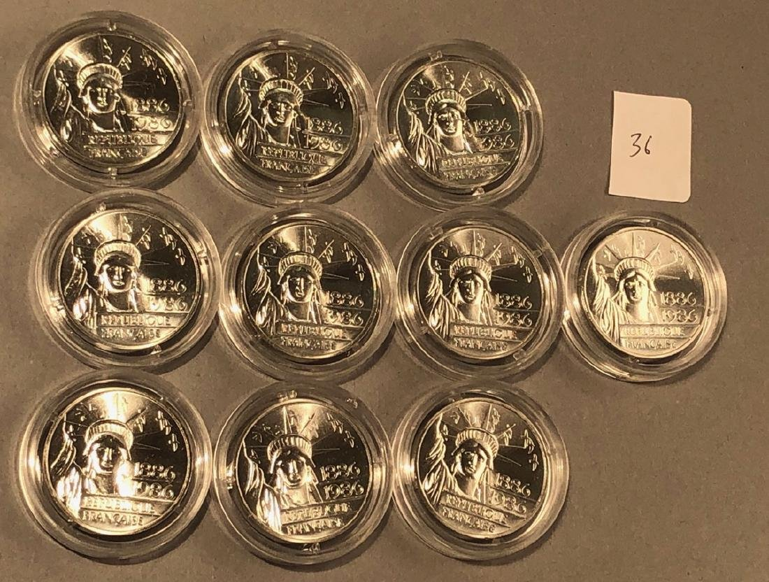 10pcs  1986 French Statue of Liberty Medal Coins.