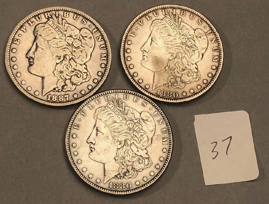 3pcs American Silver Dollars.  1880 Morgan, 1880