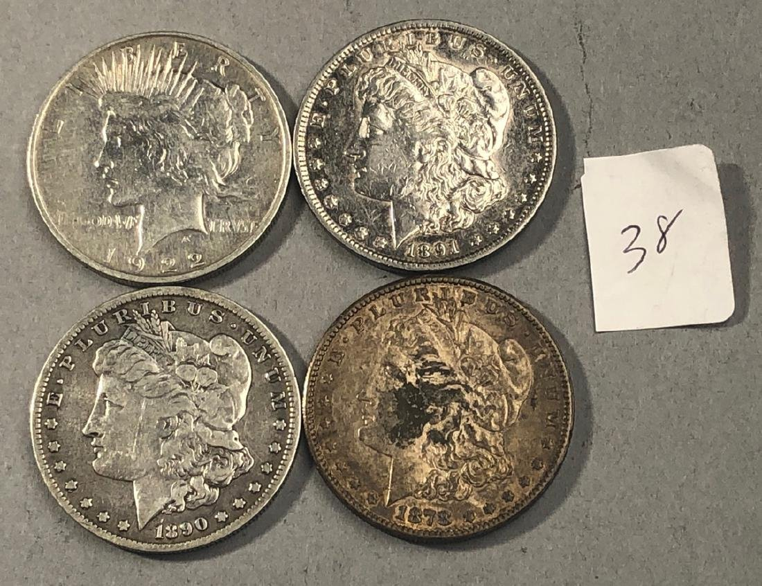 4pcs American Silver Dollars.  1878 S Morgan, 189