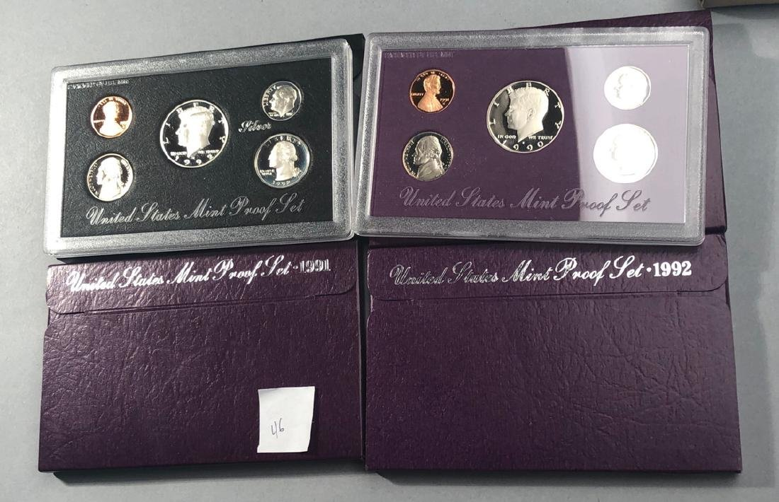 5pcs United States Proof Sets.  1-1992 Silver Pro
