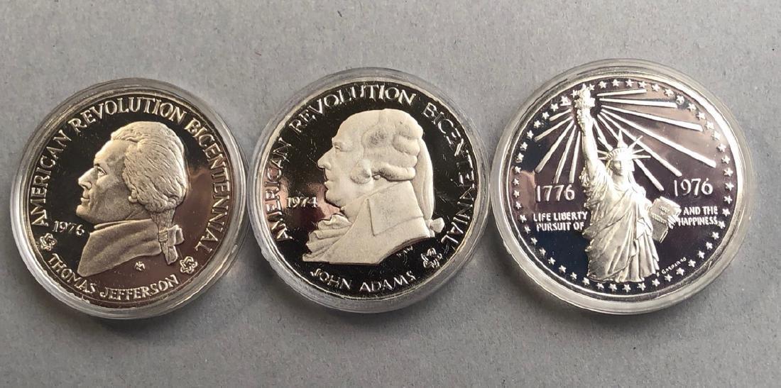 3pcs Silver Bicentennial Medals. 1974 First Conti
