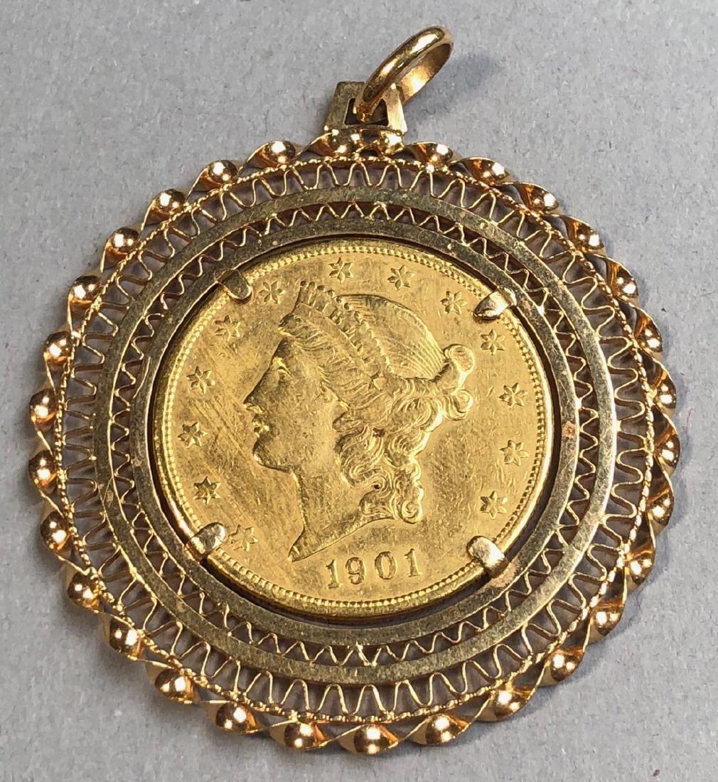 1901S Twenty Dollar American Gold Coin in 18K Gol