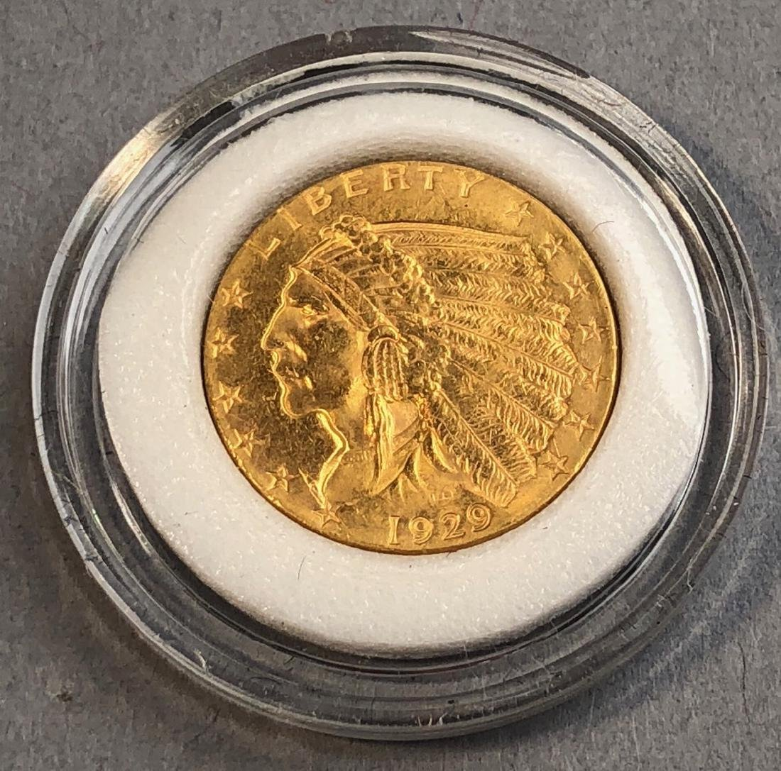 1929 American Indian Gold Coin 2 1/2 dollar.