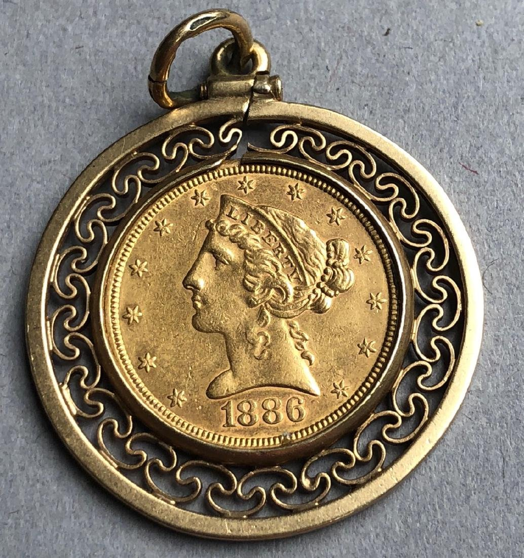 1886 American Five Dollar Gold Coin in 14K gold S