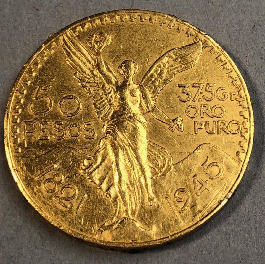 1945 Mexico 50 Pesos Gold Coin.