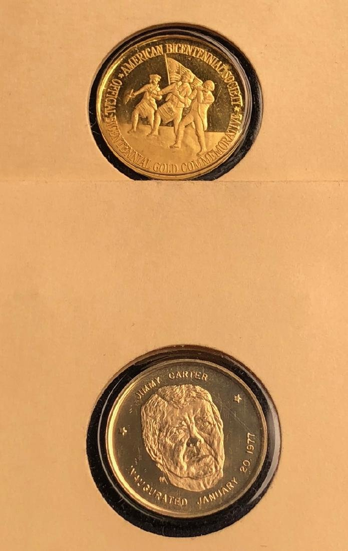 2pcs Gold Coins. Lincoln Mint 1976 American Bicen