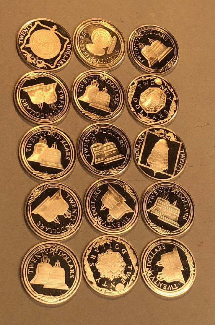 15pcs 1985 British Virgin Islands Silver 20 Dolla