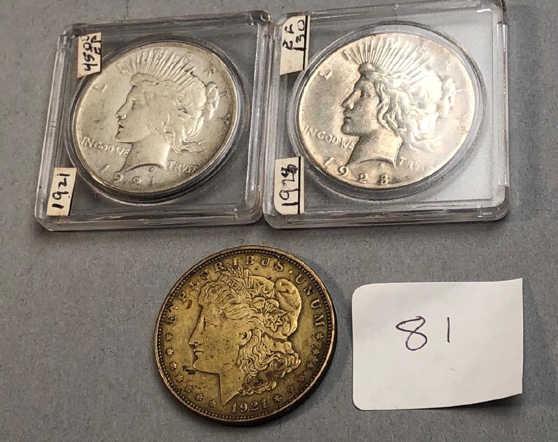 3pcs American Silver Dollars.  1921 Morgan, 1921