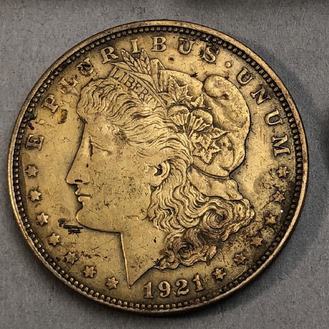 3pcs American Silver Dollars.  1921 Morgan, 1921 - 4