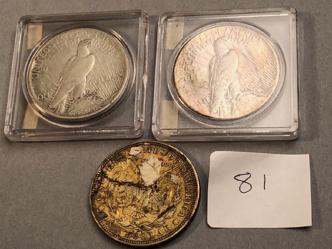 3pcs American Silver Dollars.  1921 Morgan, 1921 - 5