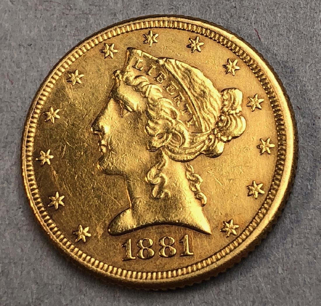 1881 Five Dollar Liberty Head American Gold Coin.