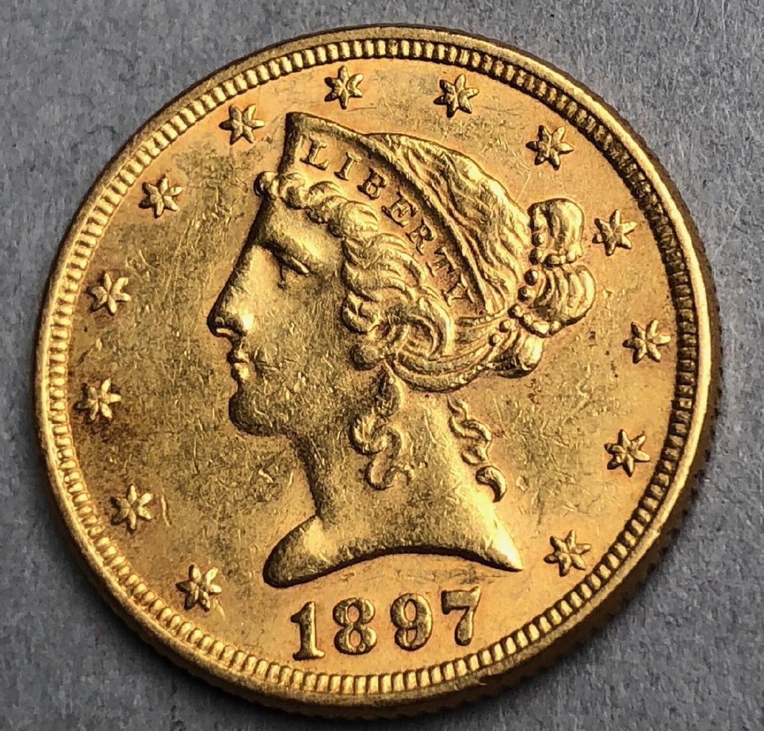 1897 Five Dollar Liberty Head American Gold Coin.
