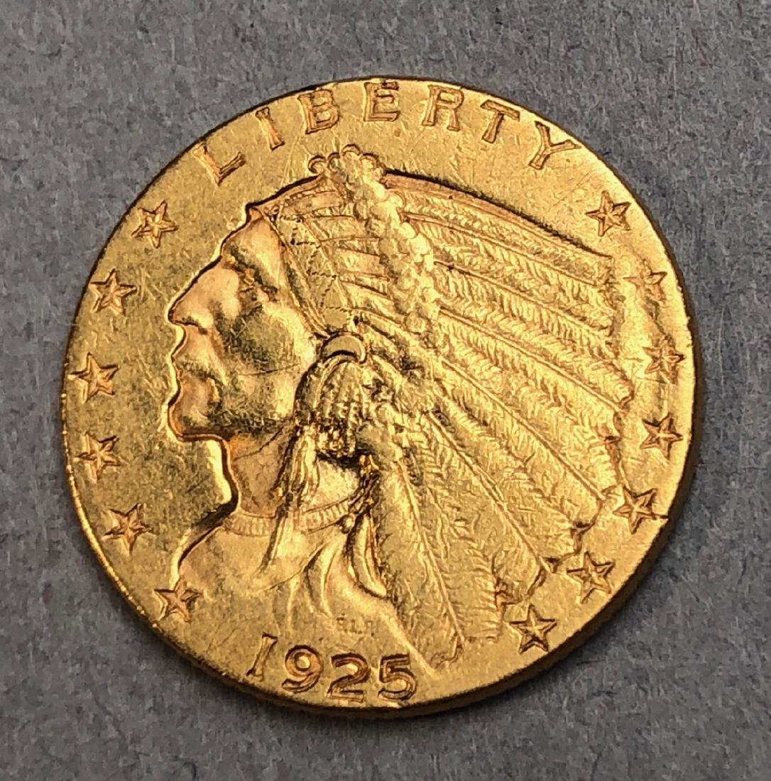 1925 Indian 2 1/2 Dollars Gold Coin.
