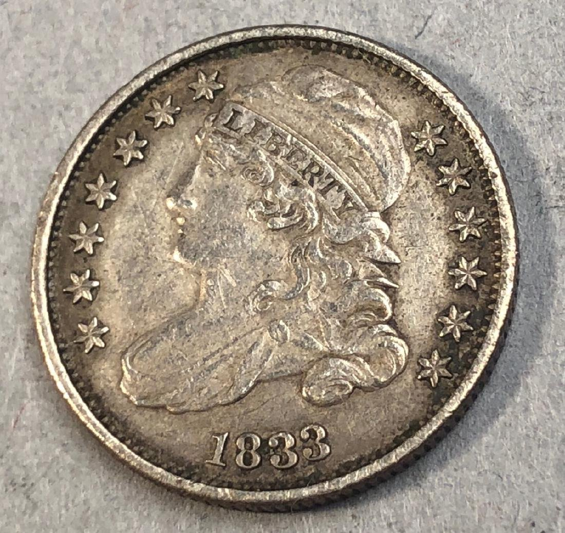 1833 Bust Silver Dime.  American.