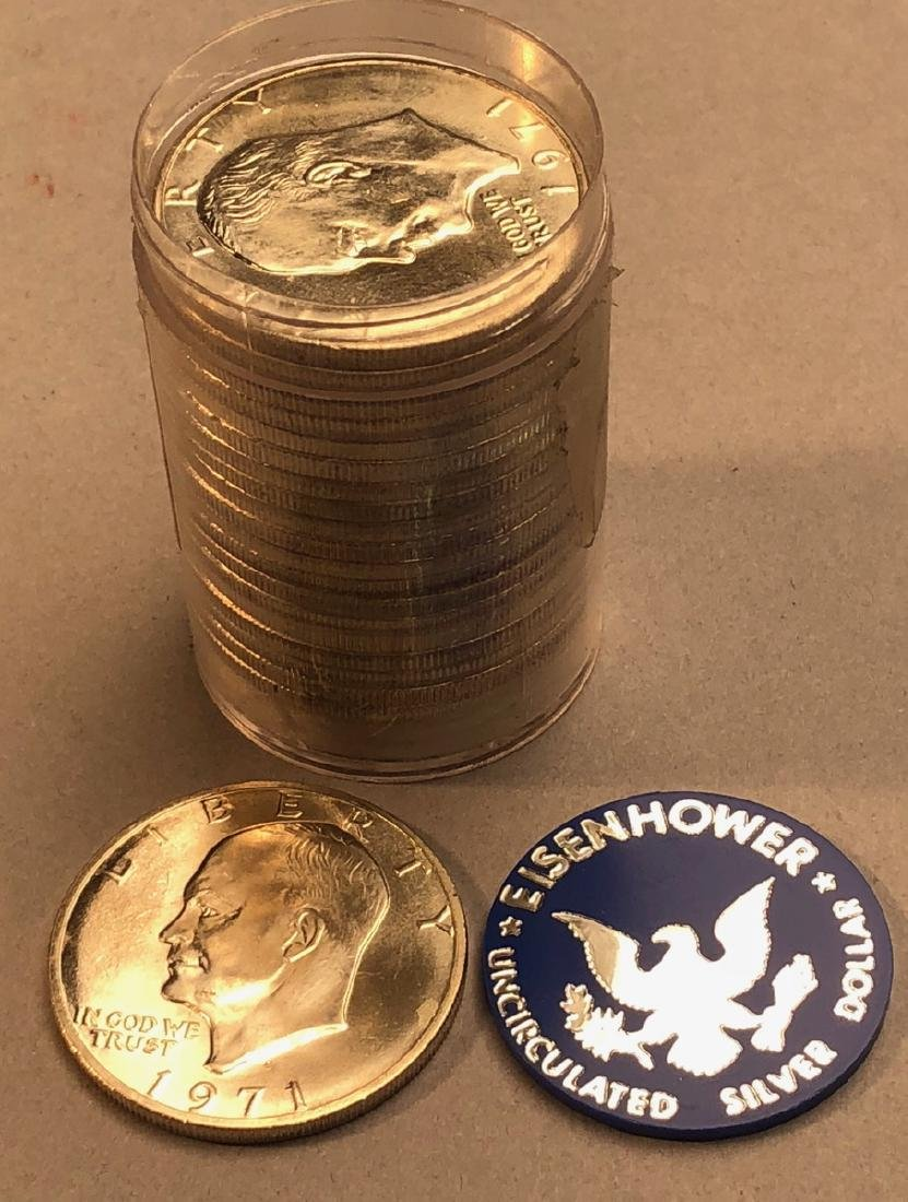 Roll 20 Uncirculated Eisenhower 1971 Silver Dolla