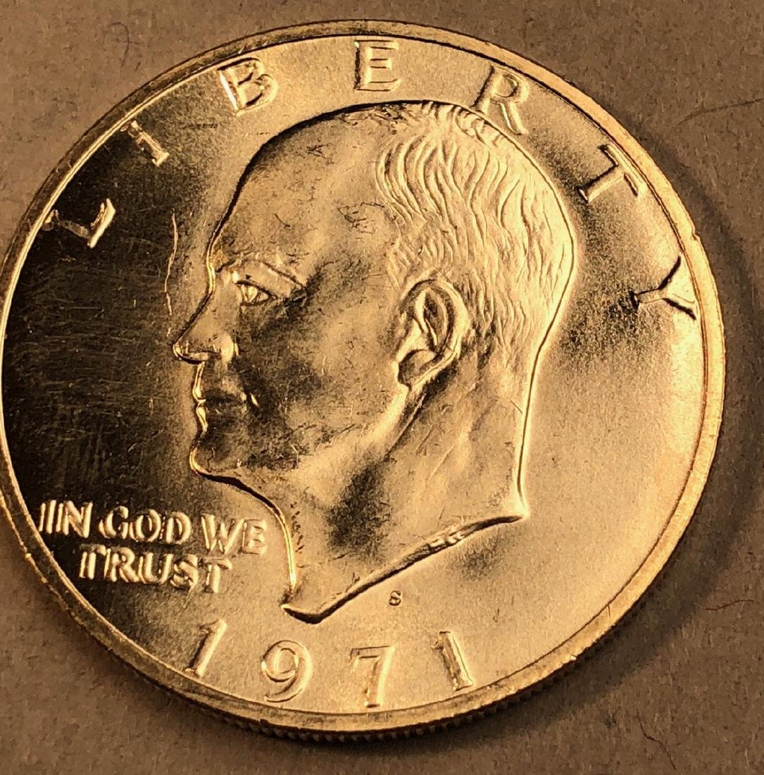 Roll 20 Uncirculated Eisenhower 1971 Silver Dolla - 2