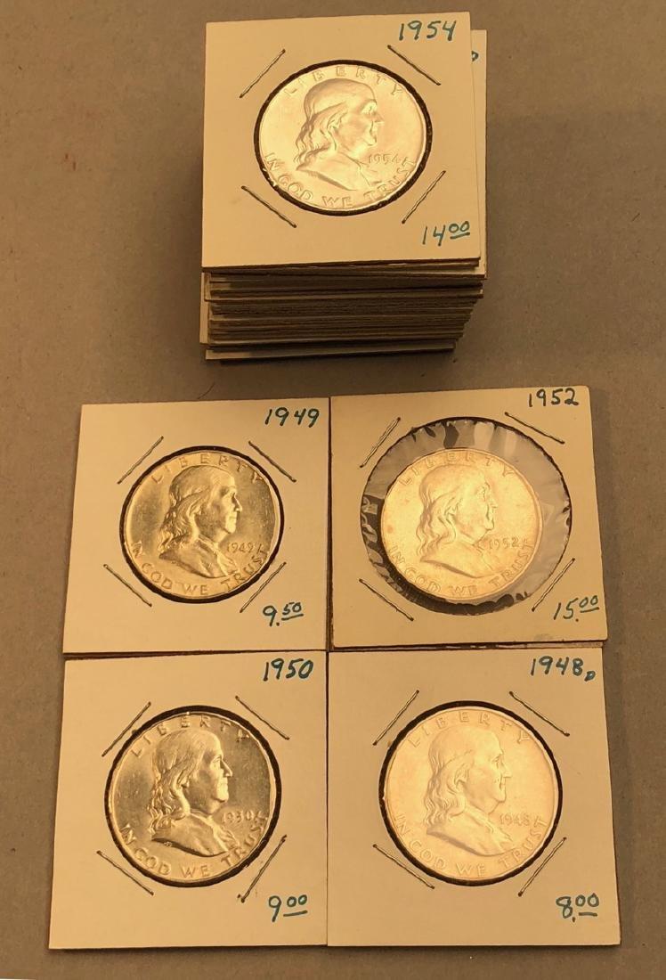 17 American Franklin Silver Half Dollars.  Mixed
