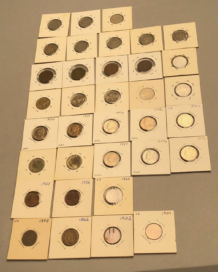 35pcs American Coins. 4 American 2 cent, 7 Indian