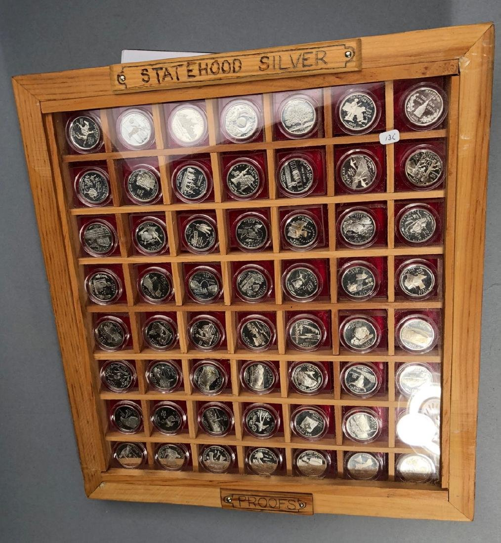 Statehood Silver Quarters in wood case