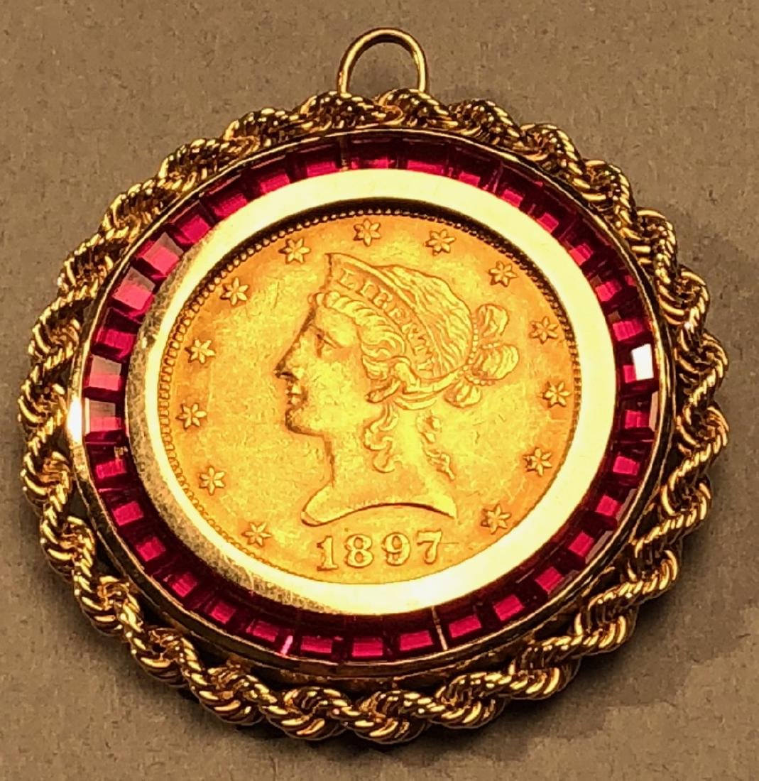 1897 Liberty Head GOLD Coin with 14K Bezel inset