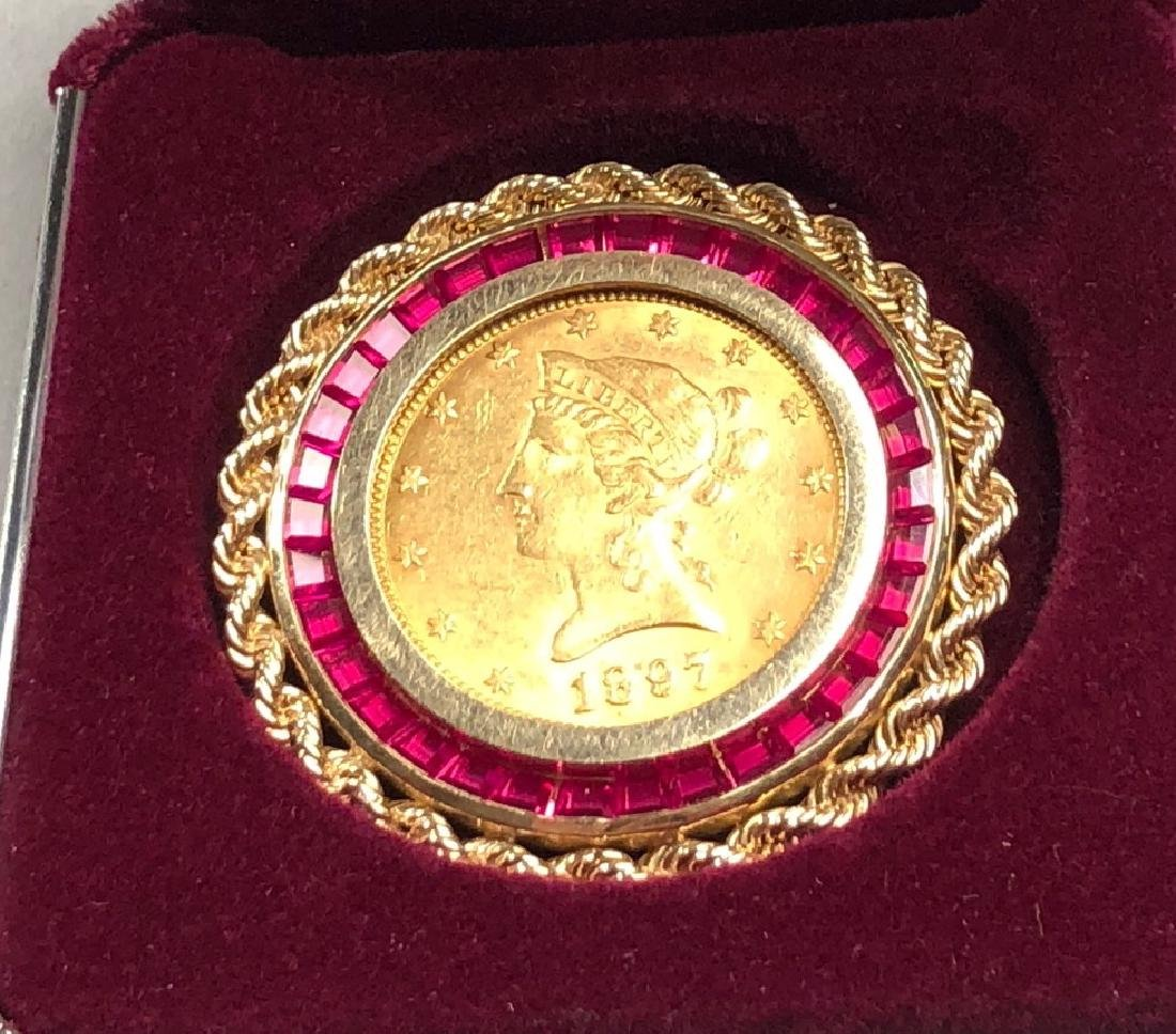 1897 Liberty Head GOLD Coin with 14K Bezel inset - 4