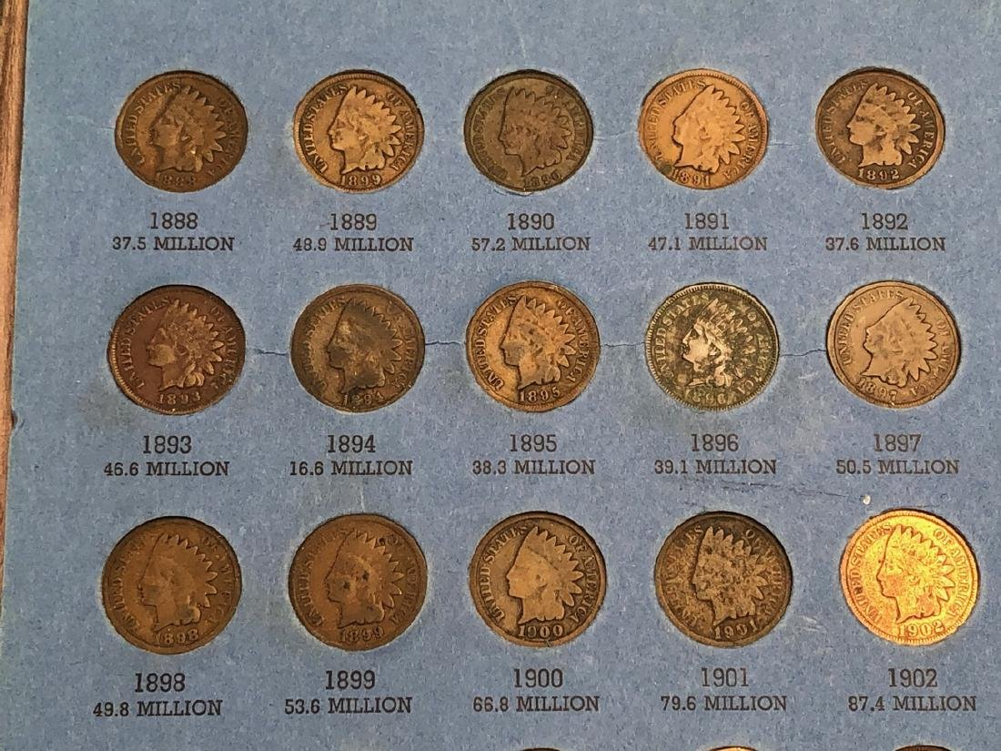 Complete set of Indian Head Cents including 1872 - 10