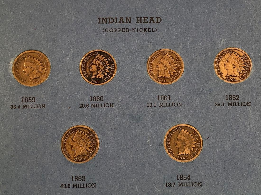 Complete set of Indian Head Cents including 1872 - 6