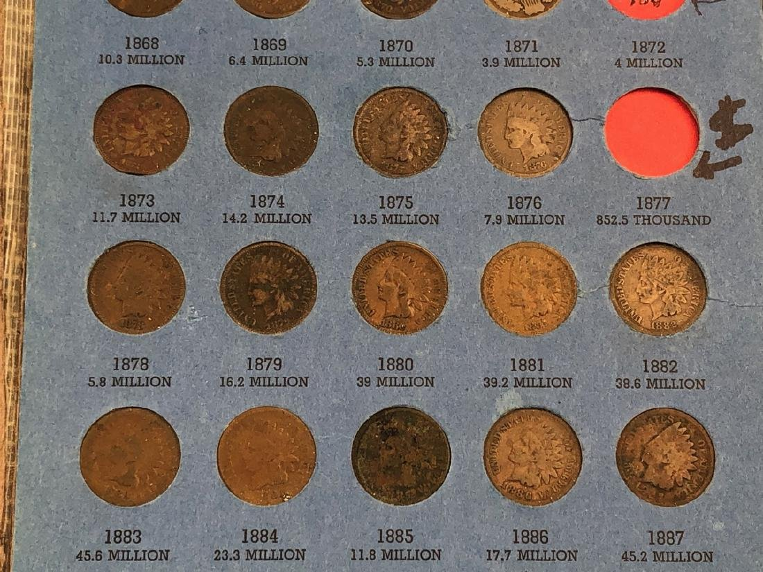 Complete set of Indian Head Cents including 1872 - 8