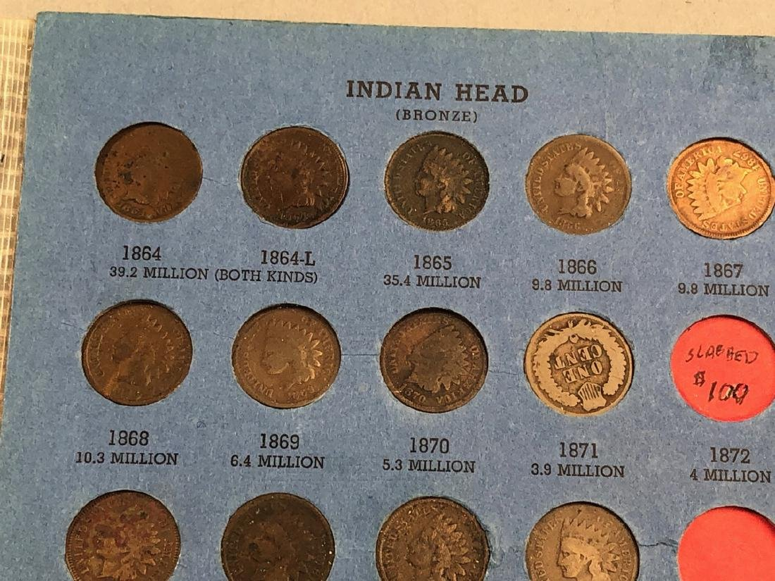 Complete set of Indian Head Cents including 1872 - 9