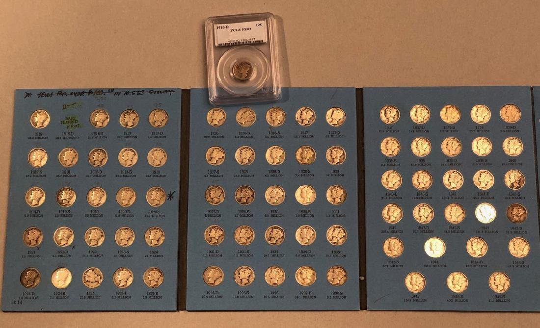 Complete set of Mercury Dimes including Graded 19