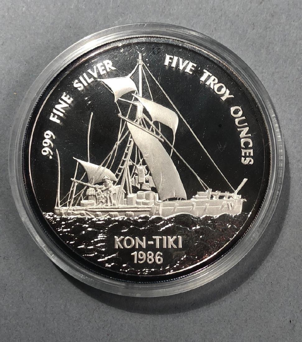 1986 Kon-Tiki 5 Troy Ounce .999 Silver
